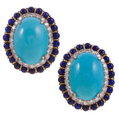 1960s Turquoise Lapis Diamond Gold Cluster Earrings