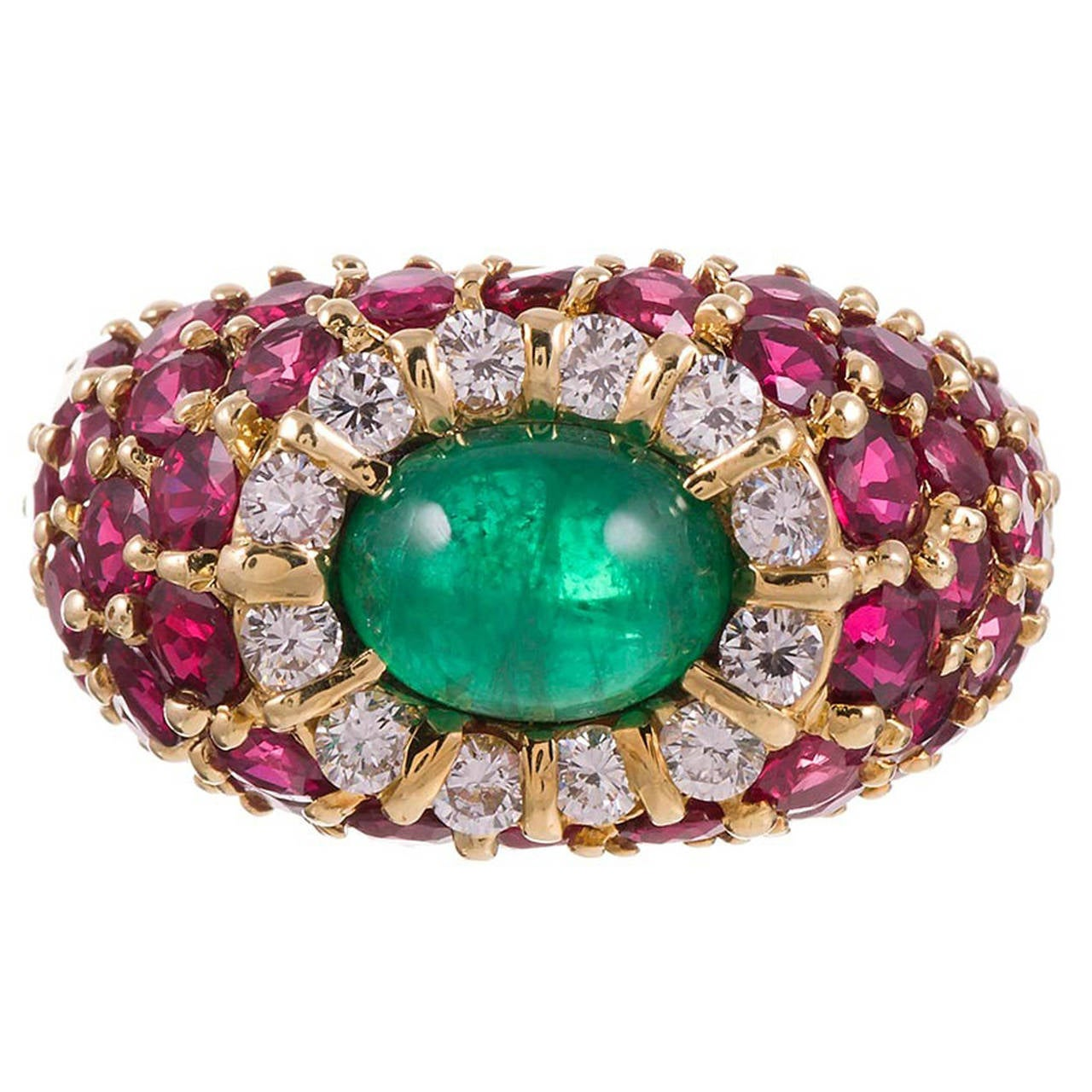 Hammerman Bros. 1.20 Carat Cabochon Emerald Ruby Diamond Gold Ring For Sale