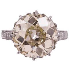 6.60 Carat Old European Cut Diamond Platinum Solitaire Engagement Ring