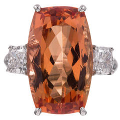14.75 Carat Imperial Topaz Diamond Platinum Ring