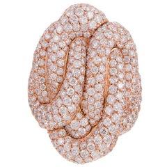 Palmeiro Italian Diamond Gold Knot Cluster Ring