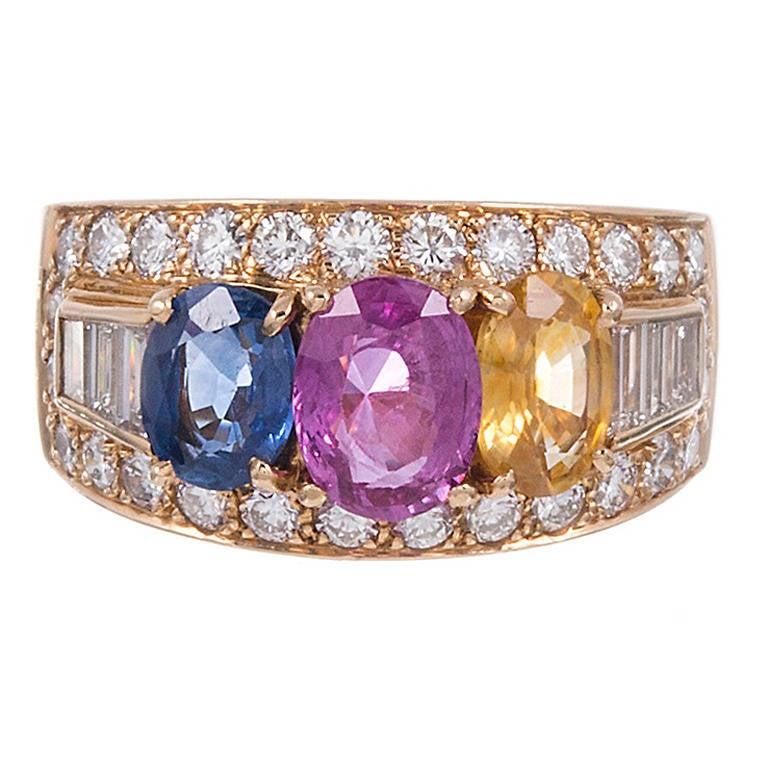bulgari multi colored sapphire diamond ring for sale at. Black Bedroom Furniture Sets. Home Design Ideas