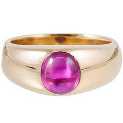 Victorian Cabochon Ruby Gold Gypsy Ring