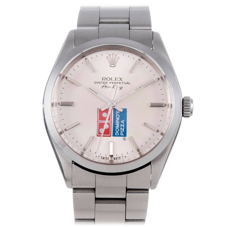 Rolex Stainless Steel Domino's Pizza Logo Dial Air King Wristwatch, circa 1980s 1