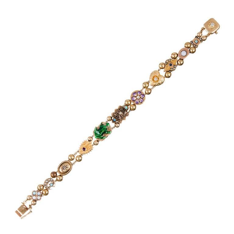 Slide Charms For Bracelets: Antique Victorian Slide Bracelet At 1stdibs