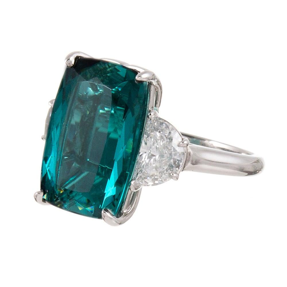 13.55 Carat No Heat Tourmaline Diamond Platinum Ring 2