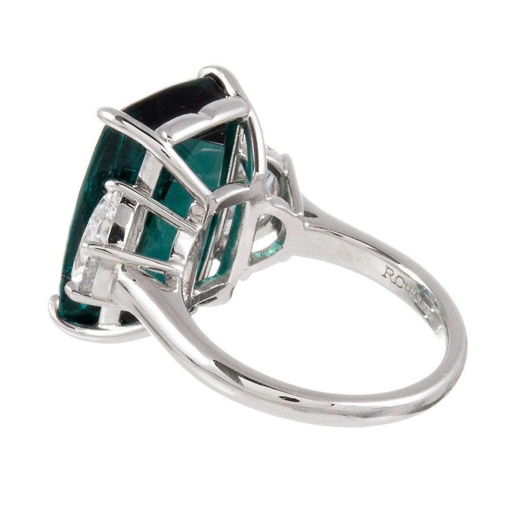 13.55 Carat No Heat Tourmaline Diamond Platinum Ring 3