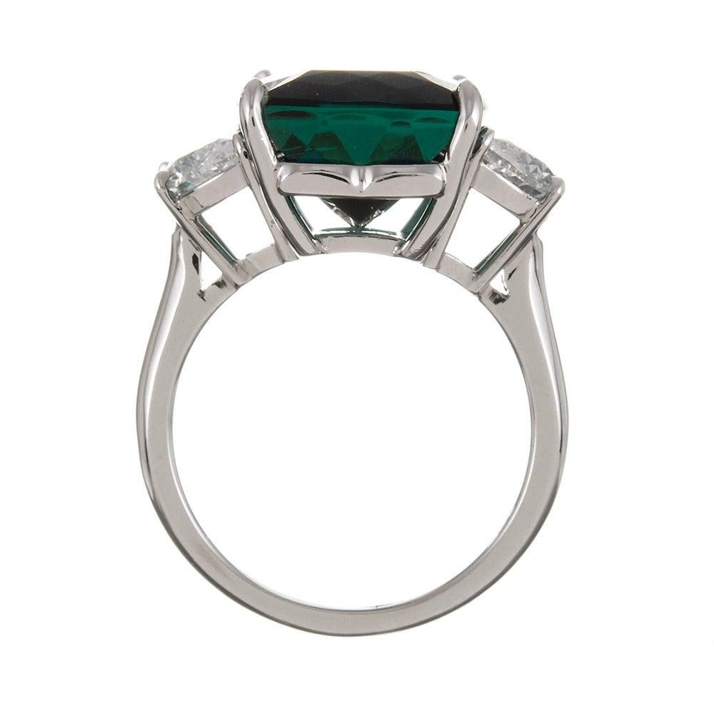 13.55 Carat No Heat Tourmaline Diamond Platinum Ring 4