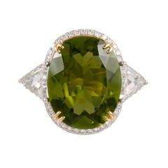 10.30 Carat Peridot Diamond Cocktail Ring