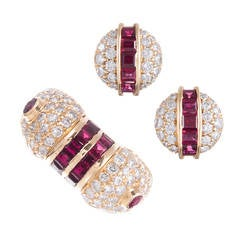 Ruby Diamond Gold Earrings and Ring Suite