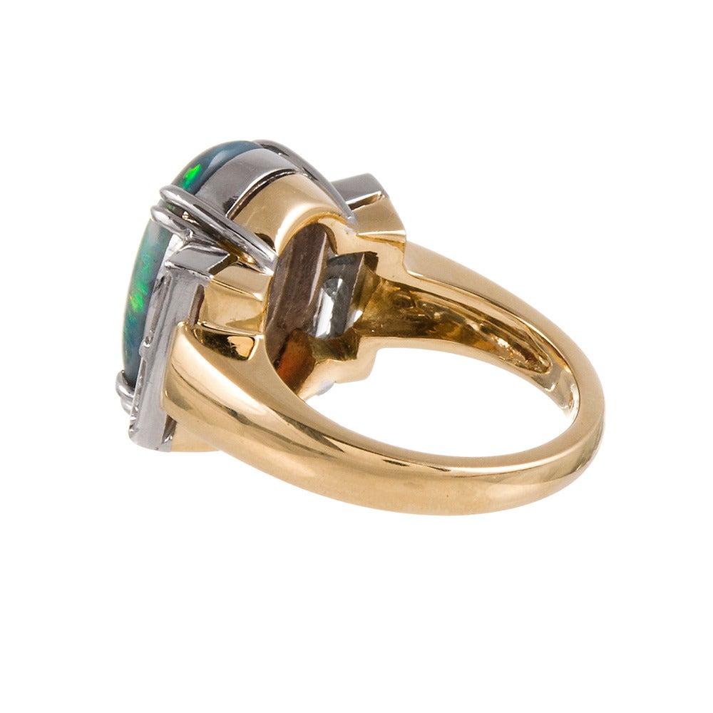 Five Carat Black Opal Diamond Ring For Sale at 1stdibs