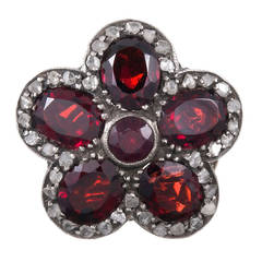 Victorian Garnet and Diamond Cluster Flower Ring