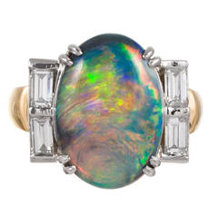 5 Carat Black Opal Diamond Ring