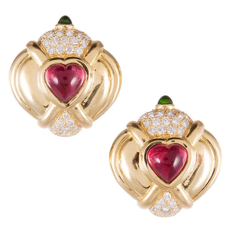 Rubellite Tsavorite Diamond Gold Clip Earrings For Sale