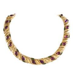 Cabochon Amethyst Tourmaline Diamond Collar