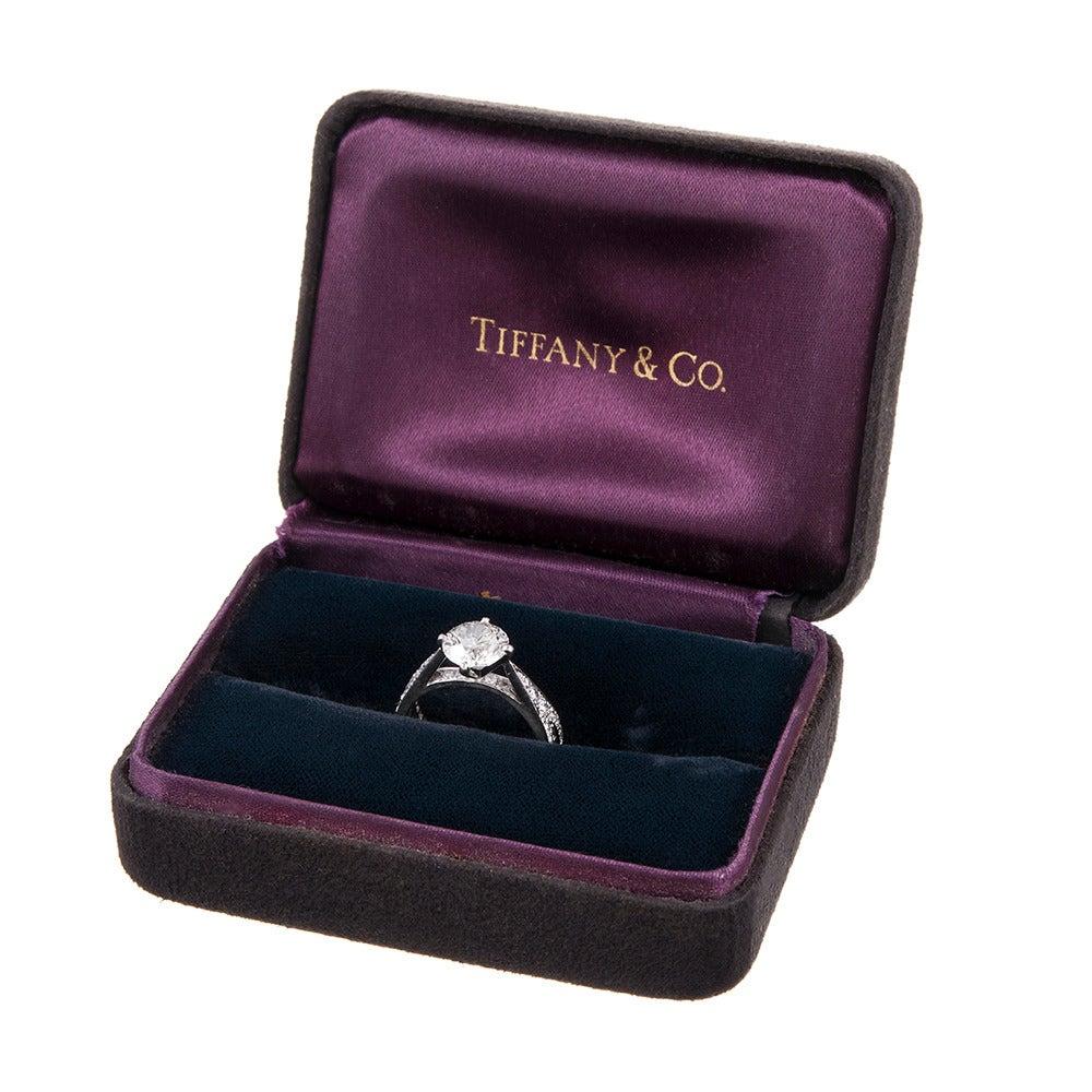 Women's Tiffany & Co. 1.79 Carat Diamond Platinum Engagement Ring For Sale
