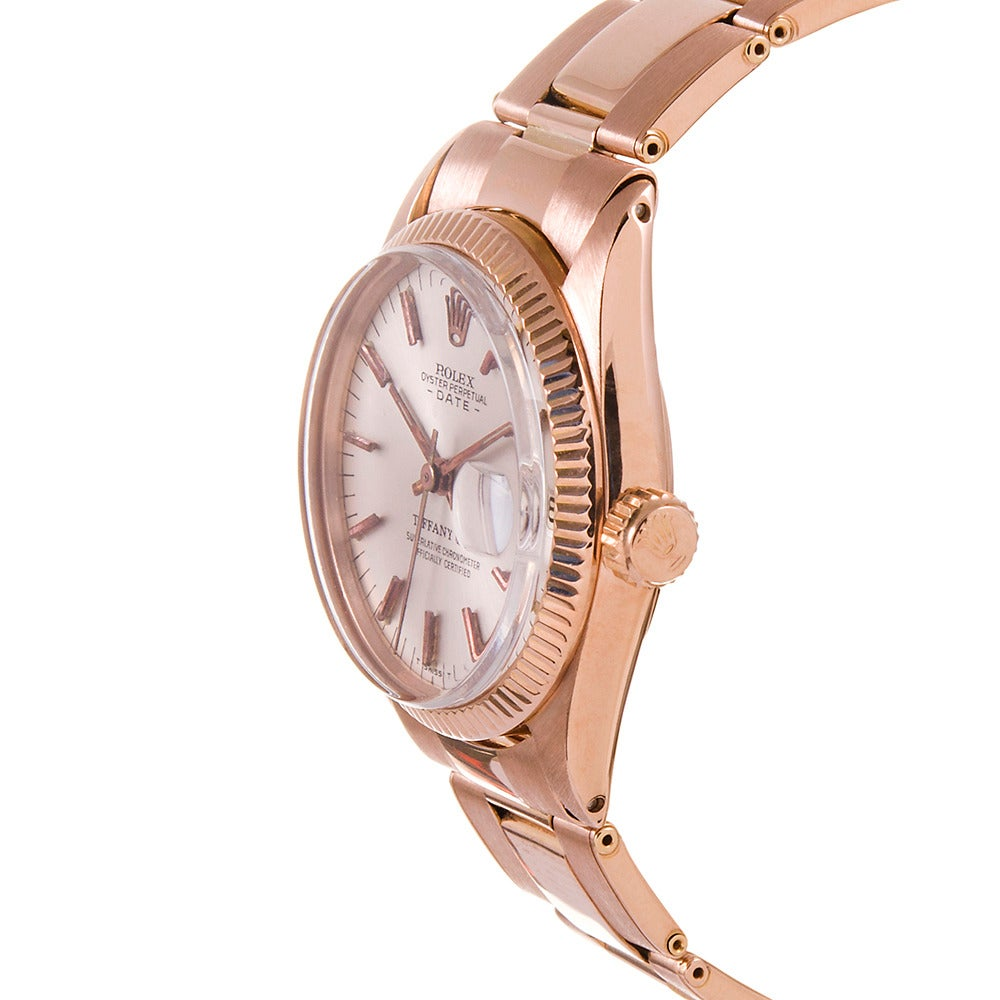 An extremely rare and exclusive combination of details make this a rare and highly-collectable lady's watch. Vintage rose gold pieces are rather more rare than their yellow gold counterparts, 31mm lady's watches are more scarce than their 26mm