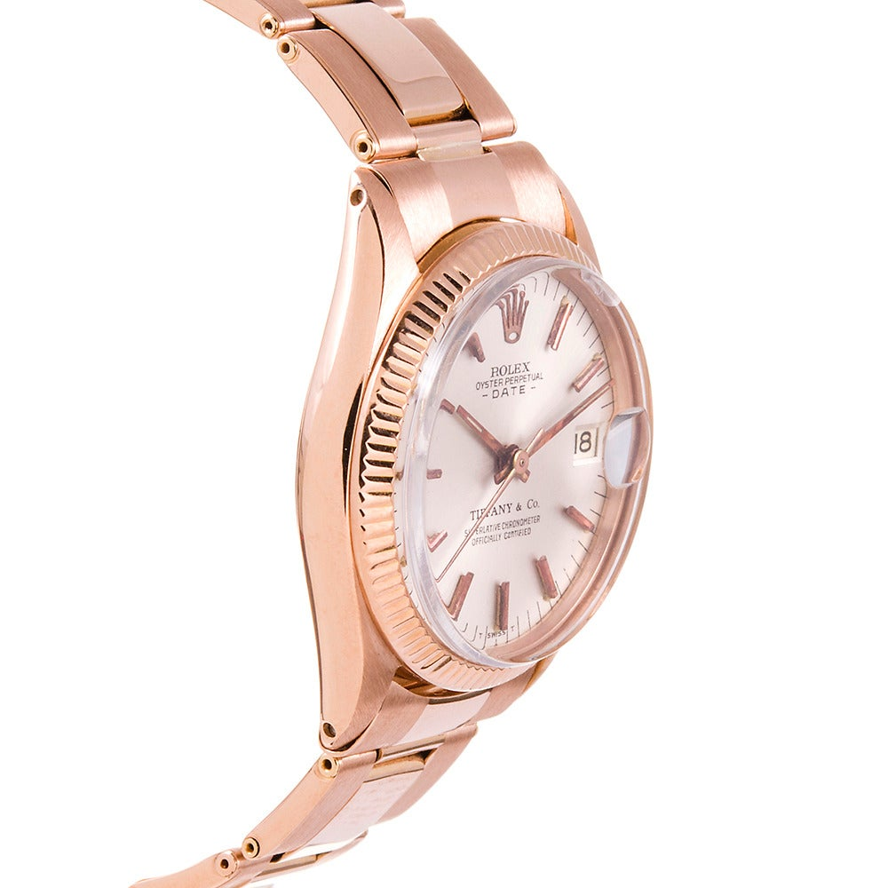 Rolex Lady's Rose Gold Datejust Wristwatch Retailed by Tiffany & Co. circa 1960s In Excellent Condition For Sale In Carmel-by-the-Sea, CA