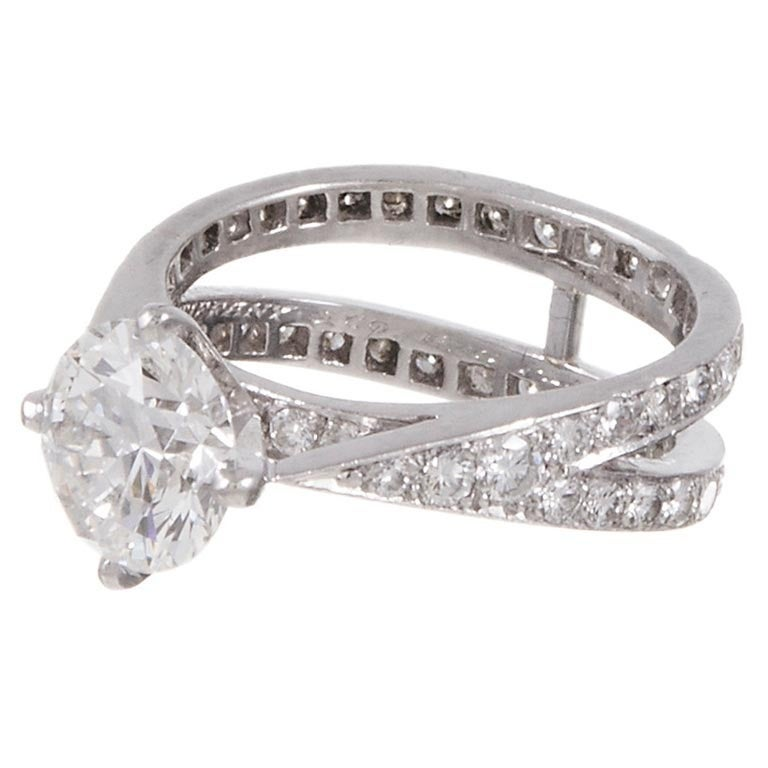 Tiffany & Co. 1.79 Carat Diamond Platinum Engagement Ring For Sale