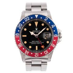 """Rolex Stainless Steel GMT-Master Wristwatch with """"All Red"""" 24-Hour Hand"""