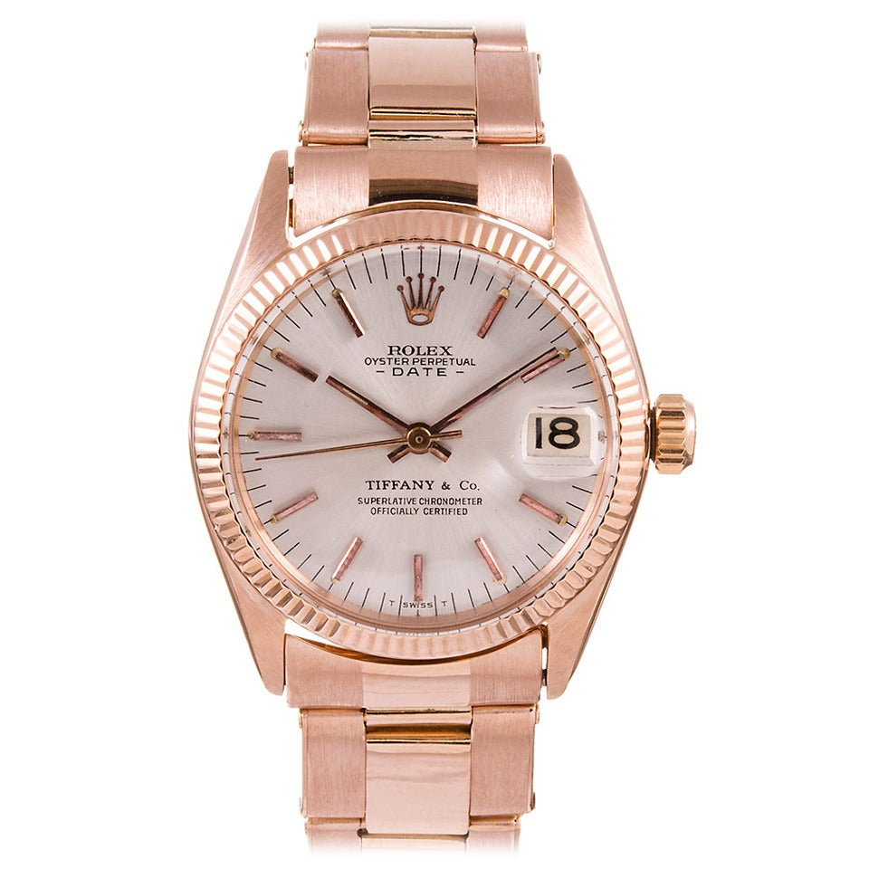 Rolex Lady's Rose Gold Datejust Wristwatch Retailed by Tiffany & Co. circa 1960s For Sale