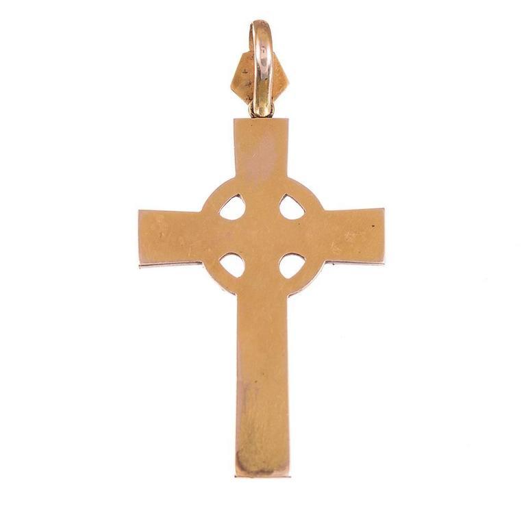 Victorian Pearl Enamel Diamond Gold Cross Pendant, circa 1880 2