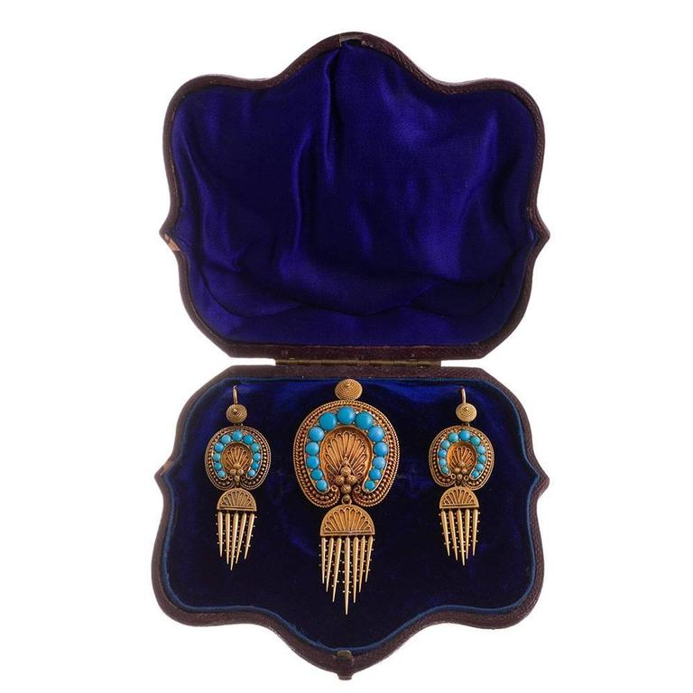 Victorian Turquoise Day-to-Night Earrings and Brooch Suite For Sale 3