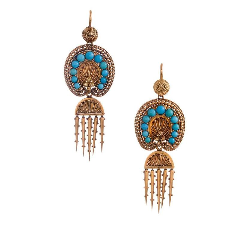 Victorian Turquoise Day-to-Night Earrings and Brooch Suite For Sale 1