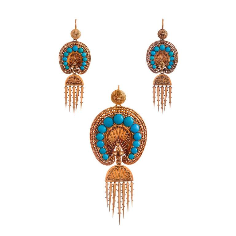 Victorian Turquoise Day-to-Night Earrings and Brooch Suite
