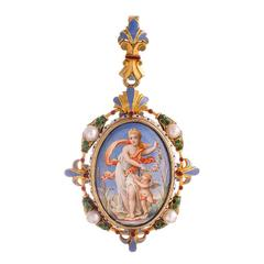 Victorian Enamel Pearl Gold Locket Pendant