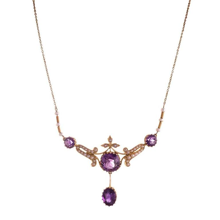 Victorian Amethyst Pearl Gold Necklet