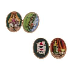 Victorian Enamel gold Four Vices Cufflinks