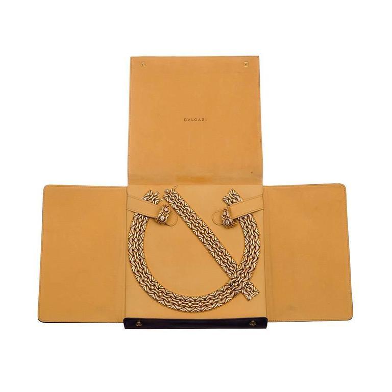 Bulgari Diamond Gold Necklace, Earrings and Bracelet Suite  For Sale 6