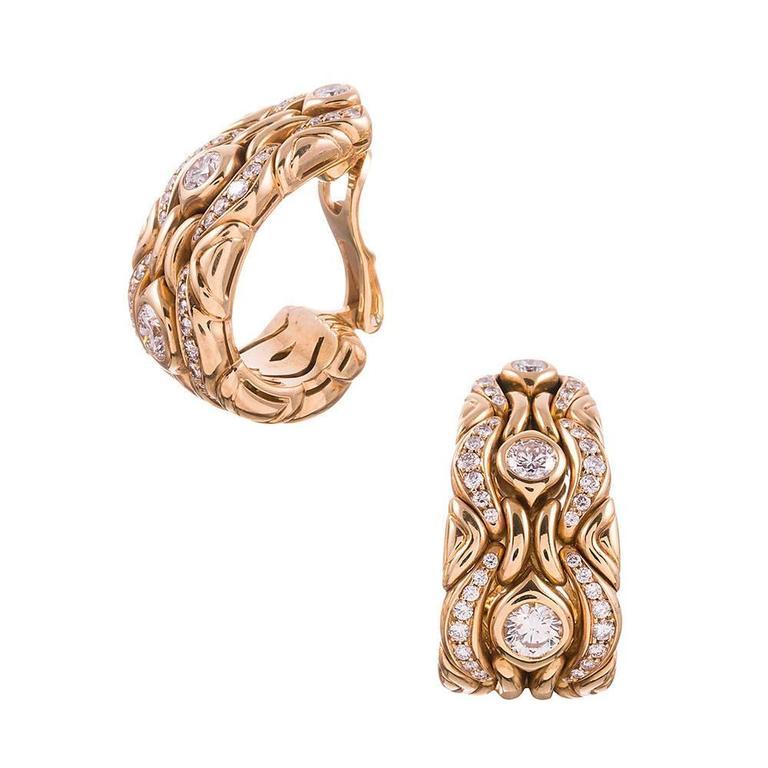 Bulgari Diamond Gold Necklace, Earrings and Bracelet Suite  For Sale 1