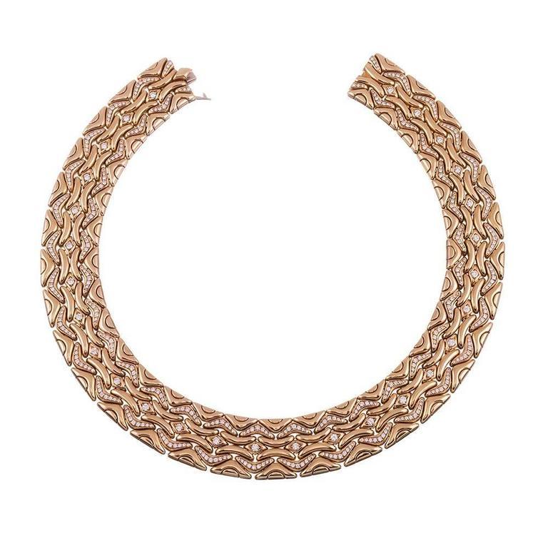 Bulgari Diamond Gold Necklace, Earrings and Bracelet Suite  8