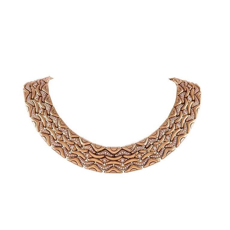 Bulgari Diamond Gold Necklace, Earrings and Bracelet Suite  For Sale 3