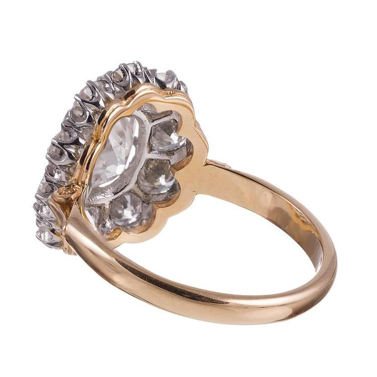 Old European Diamond gold Cluster Ring In New Condition For Sale In Carmel-by-the-Sea, CA
