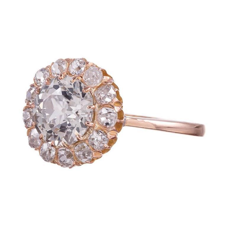 2.65 Carat Old European Cut Diamond gold Cluster Ring 2