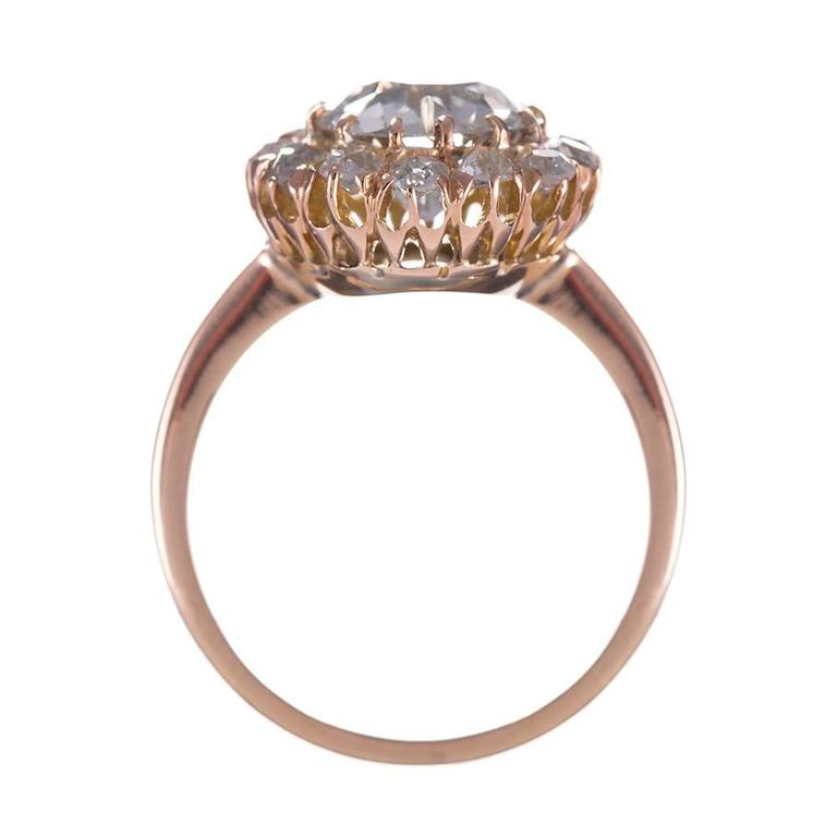 2.65 Carat Old European Cut Diamond gold Cluster Ring 4