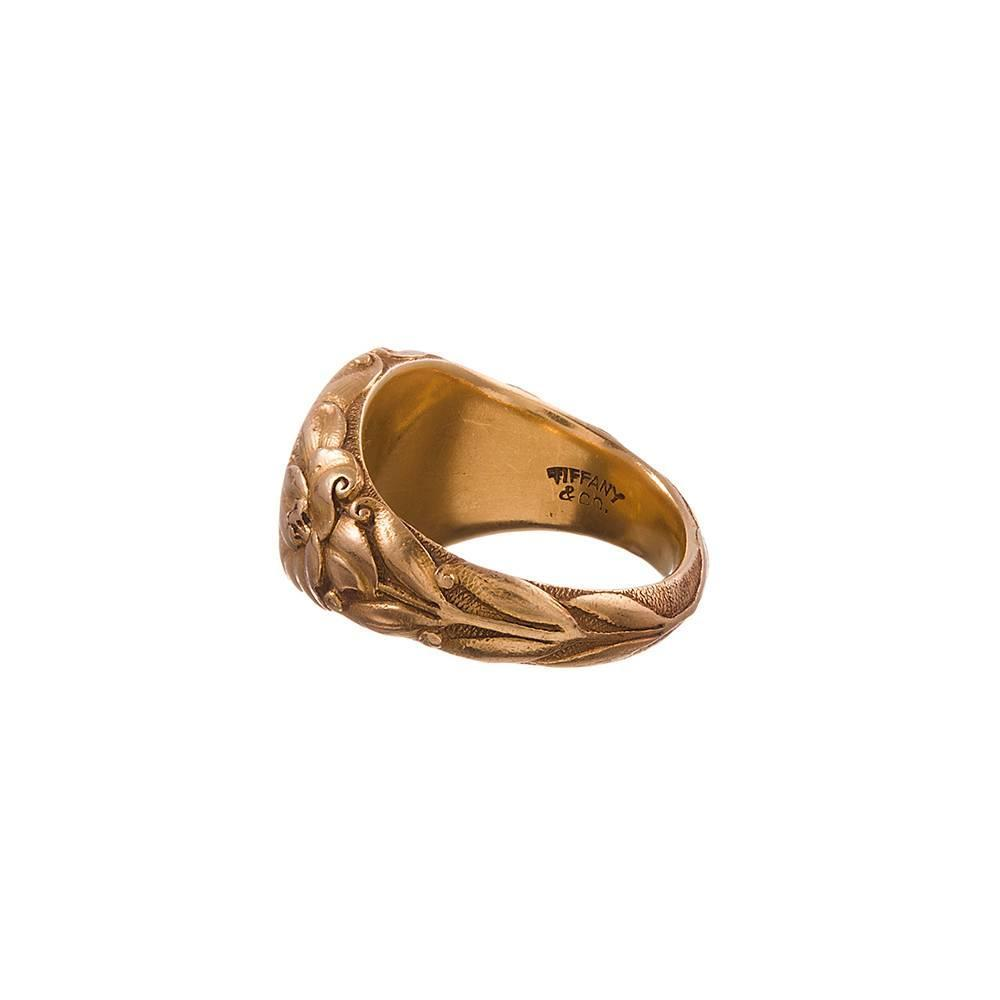 Tiffany And Co Art Nouveau Gold Signet Ring At 1stdibs