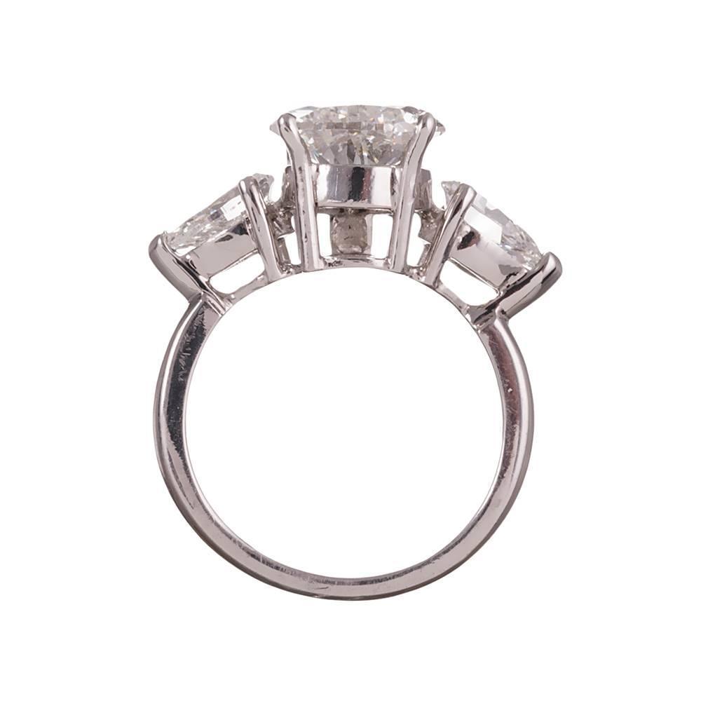 3 52 Carat Pear Diamond Platinum Three Stone Ring For Sale at 1stdibs
