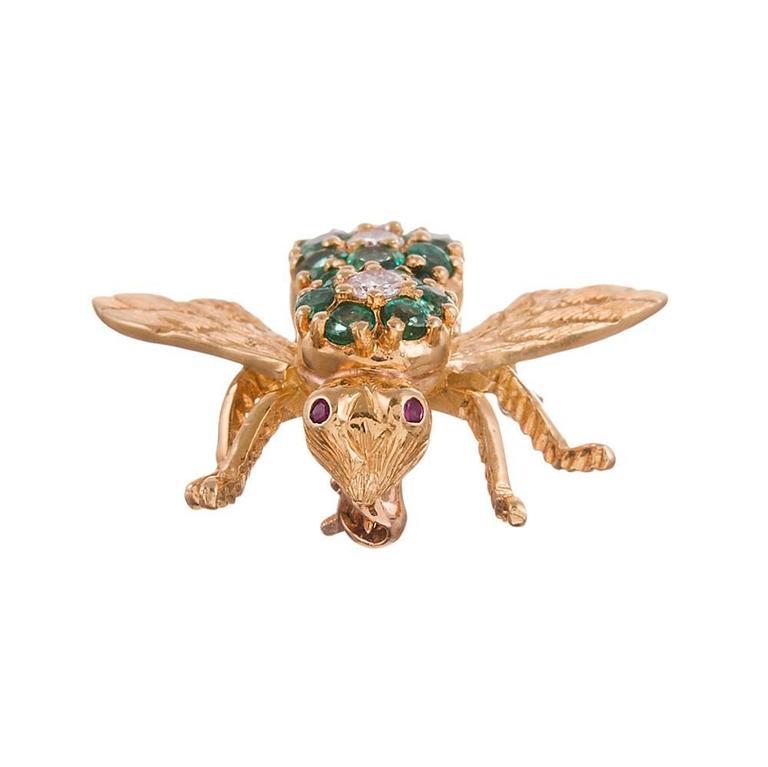 Emerald & Diamond Bee Pin, signed Henry Rosenthal 2