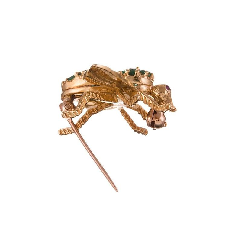 Emerald & Diamond Bee Pin, signed Henry Rosenthal 4