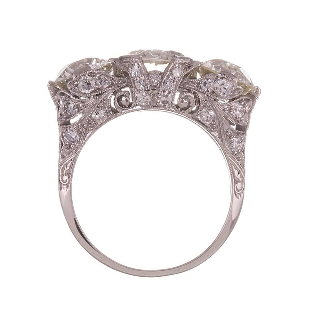 Vintage Three Stone Diamond Ring For Sale at 1stdibs