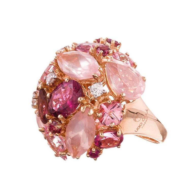 Ugo Cala Pink Topaz Ruby Diamond Gold Dome Ring 2