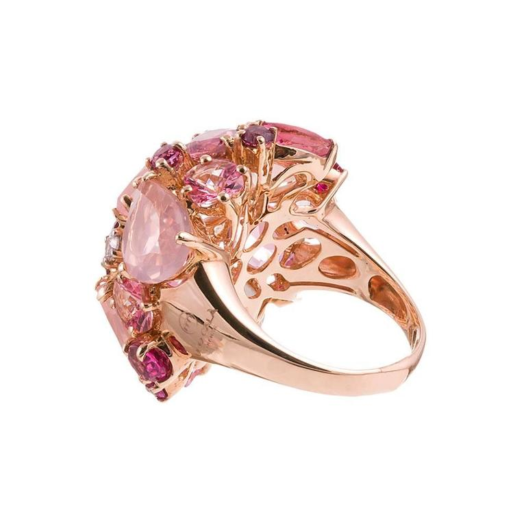 Ugo Cala Pink Topaz Ruby Diamond Gold Dome Ring 3