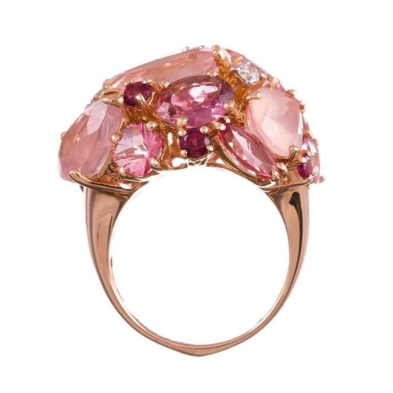 Ugo Cala Pink Topaz Ruby Diamond Gold Dome Ring 4