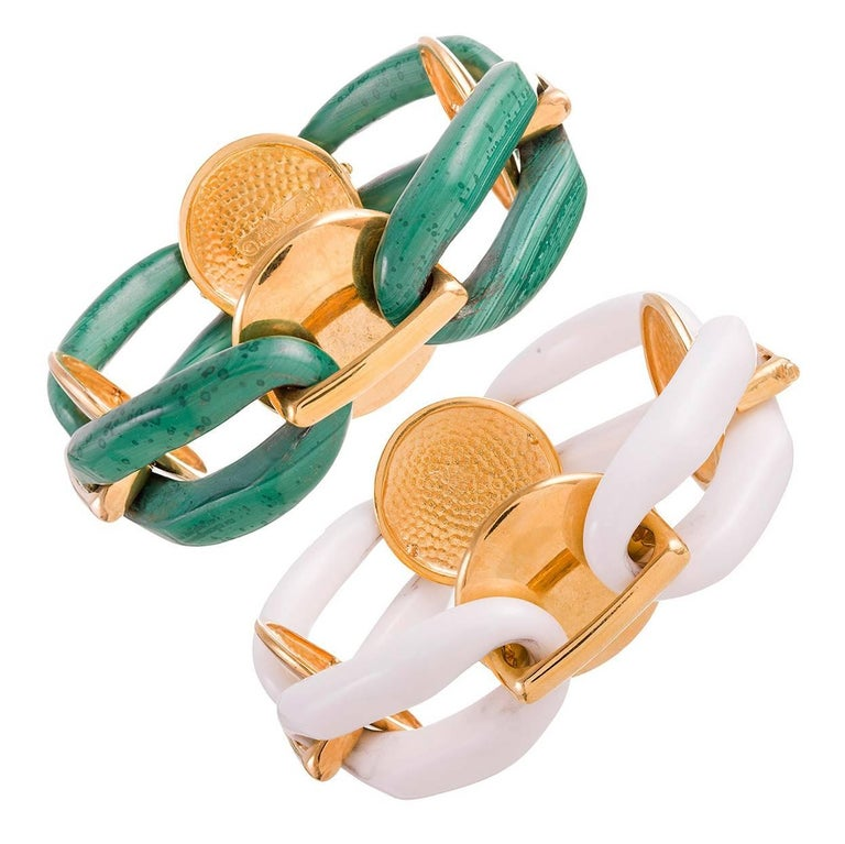 A. Cipullo Pair of Large Malachite and Agate Link Bracelets 1