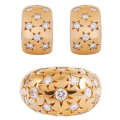 Cartier Diamond Gold Star Dome Ring and Hoop Earrings Suite