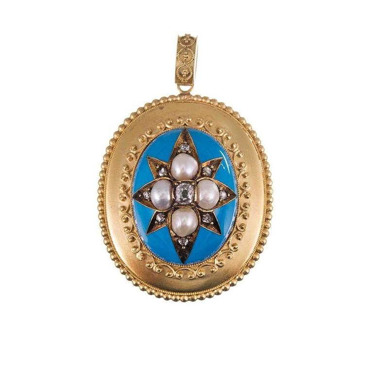 Women's Victorian Turquoise Enamel, Pearl & Diamond Locket Pendant & Earrings Suite  For Sale